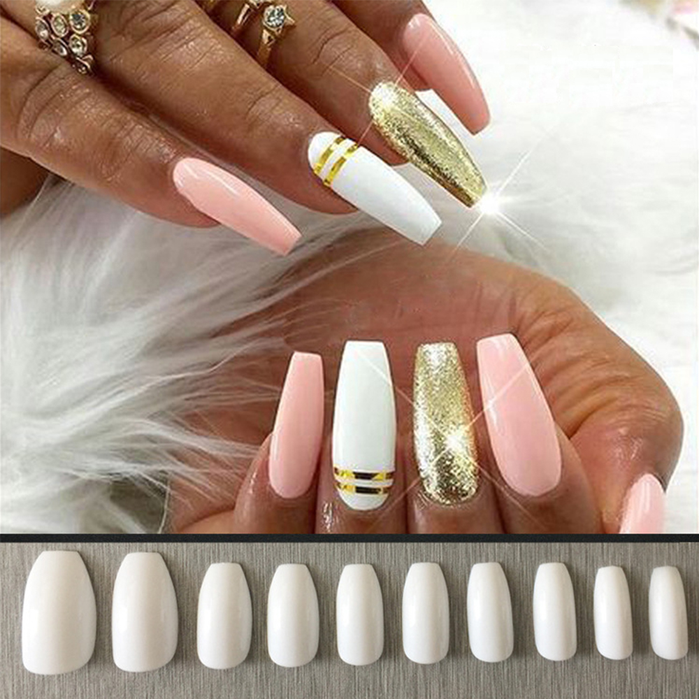 500pcs/Bag Coffin Shaped False Nails Long Design Women DIY Fake Nail ...