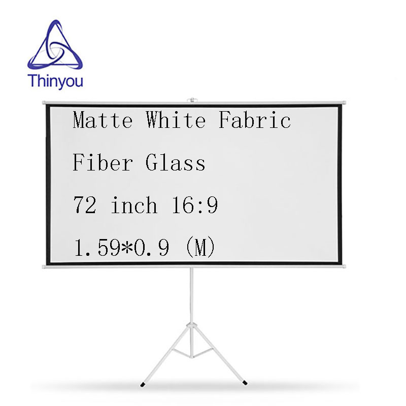 Thinyou Matte White Fabric Fiber Glass Bracket Screen 72 inch 16 9 Gain Portable Pull Up