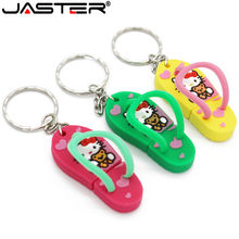 JASTER slipper usb flash drive hello kitty shoe pendrive 4GB 8GB 16GB 32GB 64GB memory stick U disk thumb drive free shipping(China)