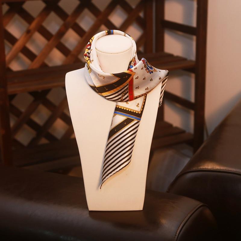 Top quality black zebra striped silk   scarf   office lady printed 100% real silk   scarf   handbag decor silk   scarf     wraps
