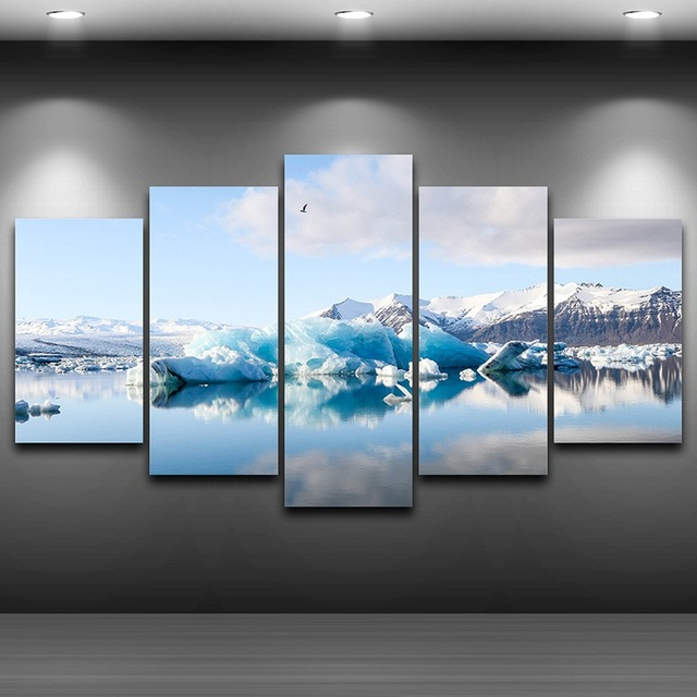 Iceberg Artistic Printed Drawing on Canvas Framed wall art up picture Spray Oil Painting Decoration HD & Iceberg Artistic Printed Drawing on Canvas Framed wall art up ...