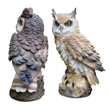 Creative Big Owl Decoration Garden Home Ornaments Bird Artifact Resin Decor Crafts Miniature Figurines