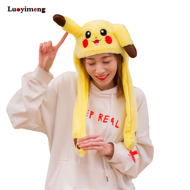 Orelhas de coelho em movimento de pelúcia chapéu mão beliscar orelha para mover orelhas verticais boné crianças feminino festa pikachu presentes desempenho chapéu da menina