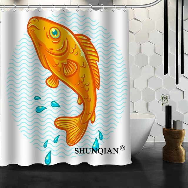 Fashion Design Customized Bath Curtain Fish Shower Screens Modern Polyester Fabric