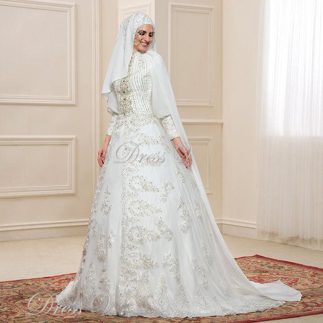 Online Shop Gorgeous Lace Applique Long Sleeve Muslim Wedding ...
