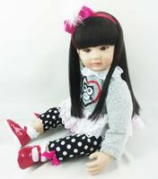 22inch Reborn Toddler Dolls Fashion Toddler Baby Dolls Kids Playmates Girls Gifts Toy Dolls Black Hair New Year Christmas Gifts