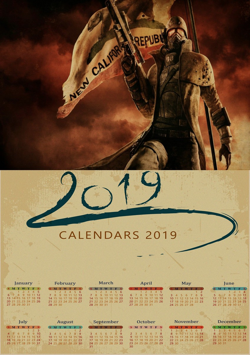 1d1cd11716e9d US $1.68 |Fallout Series Game retro 2019 calendar Poster Retro Kraft Paper  Bar Cafe Home Decor Painting Wall Sticker 22 style-in Wall Stickers from ...