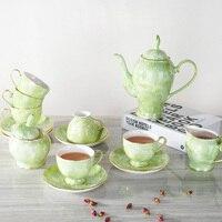 15 pçs/lote Luxo Osso China Jogo de Café de Mármore Xícaras de Chá de Porcelana Pote de Açúcar de Cerâmica Jarro de vidro Teatime Bule Drinkware Casamento presente
