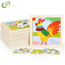 1Pc 3D Wooden Jigsaw Puzzles for Children Kids Toys Cartoon Animal/Traffic Puzzles Baby Educational Puzles GYH(China)