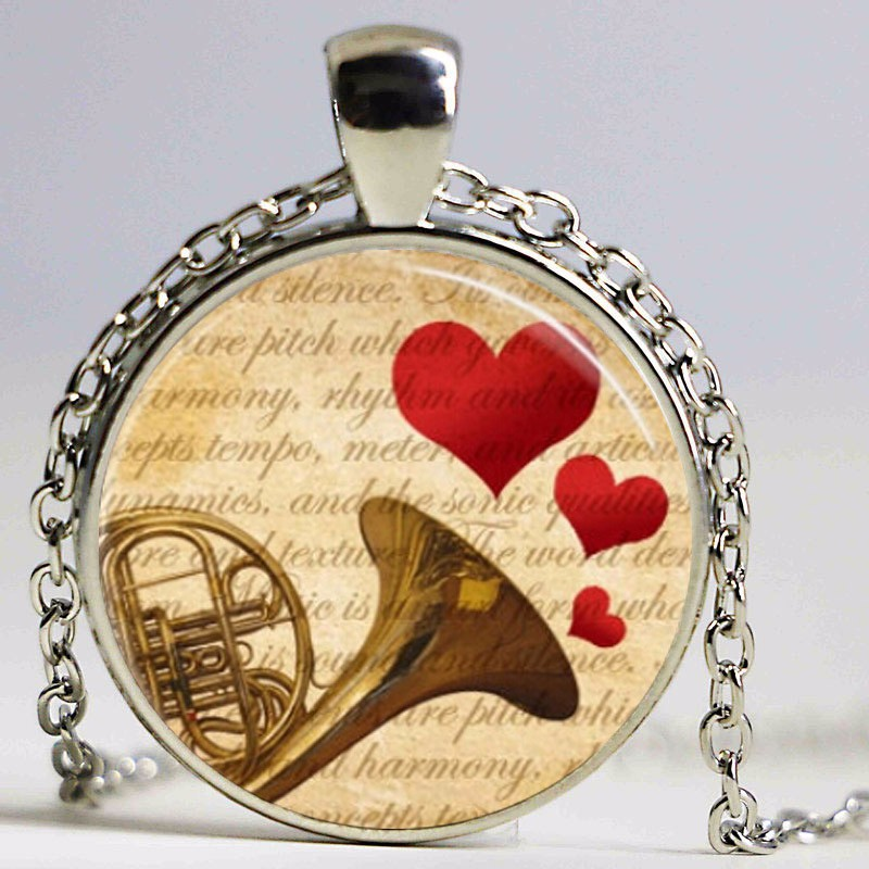 Free shipping French Horn Necklace Music Jewelry Musical Instrument,Orchestra Art Pendant Necklace