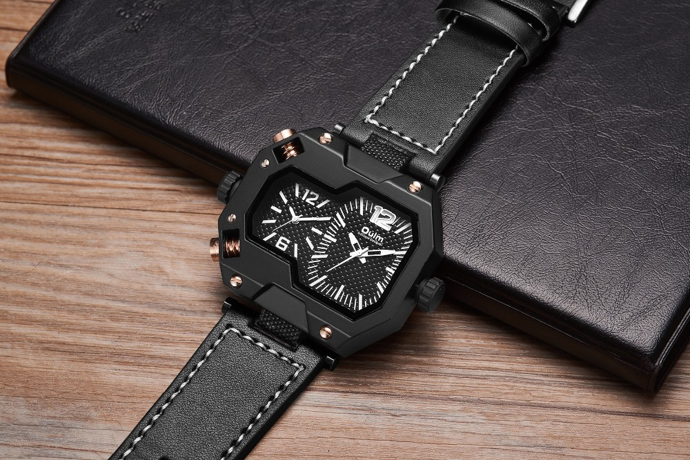 OULM Fashion Oversize Quartz Watch Men 2 Time Zone Display Unique Rectangle Dial Deisgn Leather Strap Creative Casual Wristwatch 15