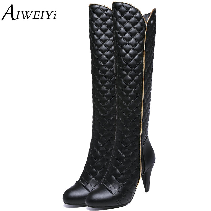 AIWEIYi Autumn Winter Pointed Toe Thin High Heels Women's Boots Fashion Knee High Boots Botas Femininas Motorcycle Boots arrylinfashion british fashion all match ankle boots top leather autumn botas femininas pointed toe charming thin high heels