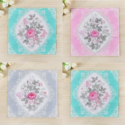 400pcs Vintage Large Hallmark Dinner Paper Napkins Retro Aqua Blue Pink Grey Flower Party Paper Napkins for Decoupage Wedding