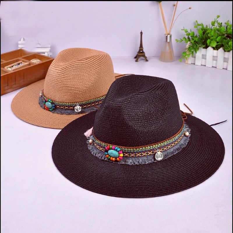 Zomer Handwerk vrouwen mannen Western Cowboy Hoed Voor Gentleman Kralen Omzoomd Cowgirl Jazz Cap Straw Beach Zonnehoed