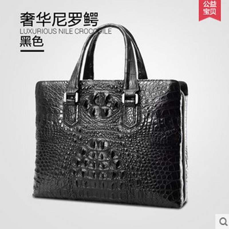 2018 gete new Thai crocodile men handbag male business bag large capacity leather briefcase luxury male big bag