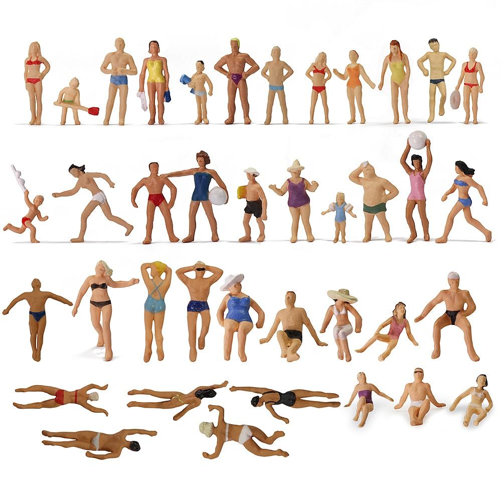 40 pces ho balança natação figuras 187 natação pessoas modelo trem
