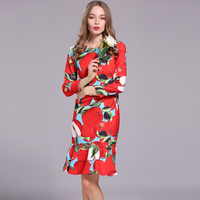 Womens 2017 Spring Runway Novelty Dress New Pretty Long Sleeve Apples Print Red High Street Trumpet Above Knee Fashion Dresses