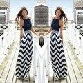2015 Summer Style Summer Dresses Striped Print Maxi Long Dresses O-Neck Sleevless Off Shoulder Beach Boho Feminine Plus Size