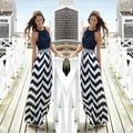 2015 vestidos de verão listrado impressão Maxi vestidos de verão o-pescoço sem mangas Off ombro praia Boho feminino Plus Size
