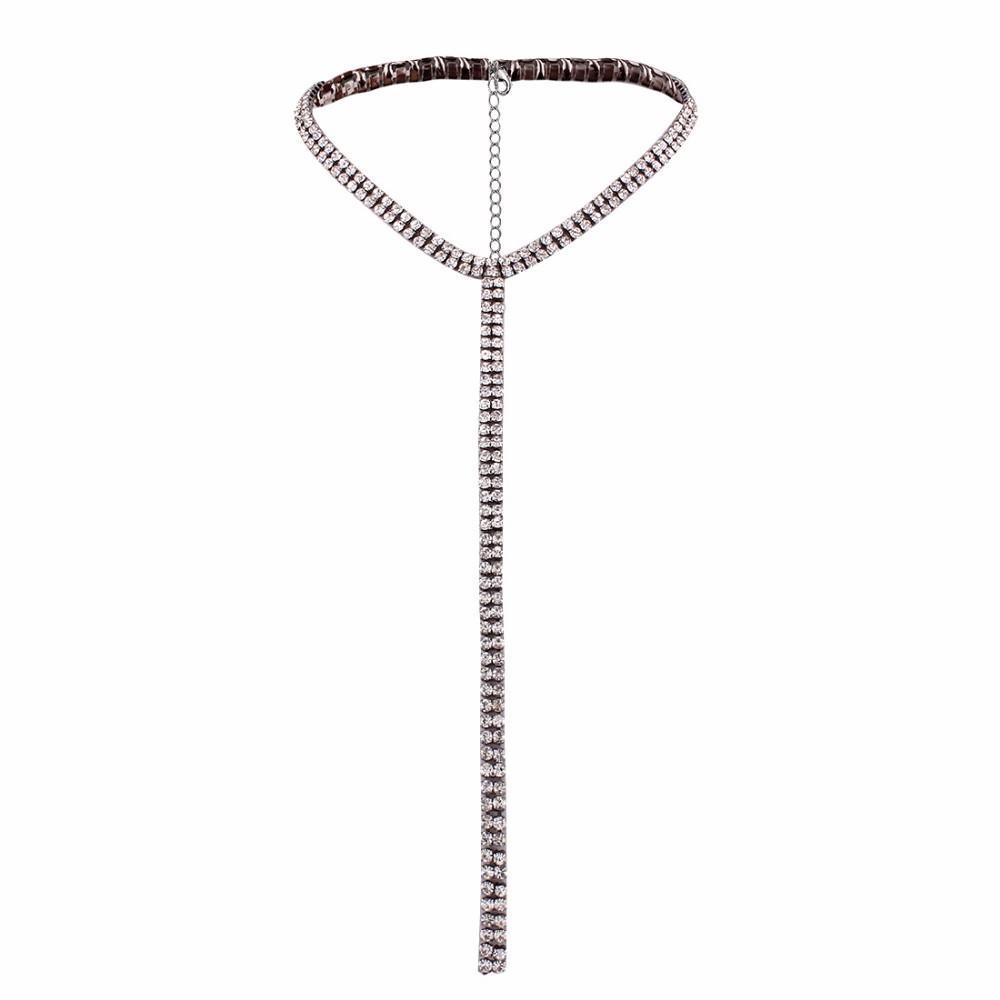 Long Tassel Simple Crystal Rhinestone Choker Necklace