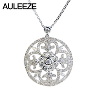 AULEEZE Luxury 18K White Gold Real Diamond Pendant Necklace Vintage Hollow 1.08cttw Diamond Pendant Female Party Jewelry