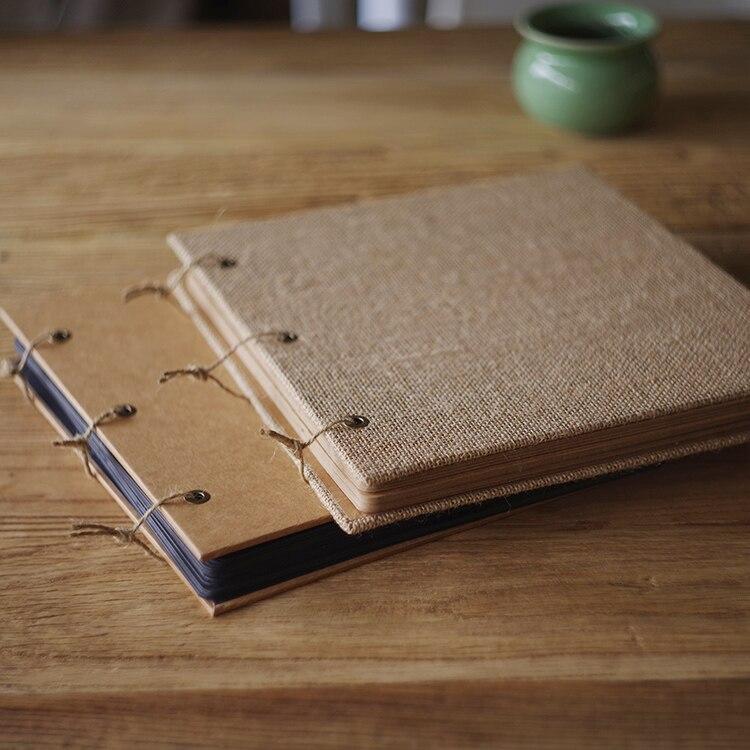 Carré toile de jute ou artisanat couverture personnalisé bricolage à la main Scrapbook créatif journal rétro bébé histoire Photo Album mariage Skrabbuking