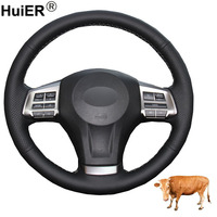 Hand Sewing Car Steering Wheel Cover Top Cow Leather For Subaru Forester 2013 2016 Legacy Outback 2012 2014 XV 2011 2015 Impreza