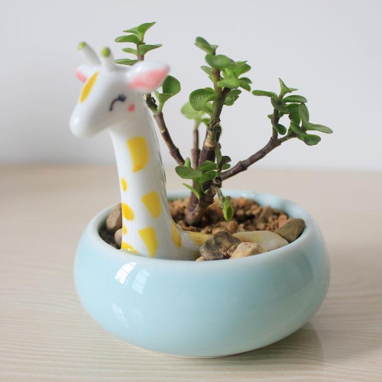 Cute Giraffe Shape Flower Pot Desktop Flower Pots Planters
