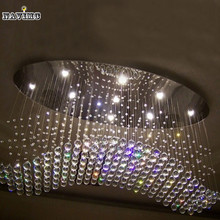 Wholesale Free Shipping Oval Curtain Wave Modern Crystal Chandelier Light Fixture Lamp Living Room Crystal Pending