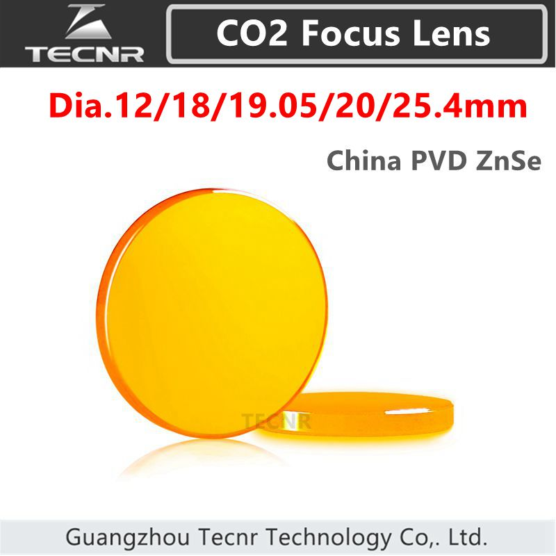 China ZnSe CO2 focus lens diameter 12 18 19.05 20 25.4 25mm for CO2 laser cutting machine 28mm usa znse focus lens for co2 laser 127mm focal length co2 laser lens