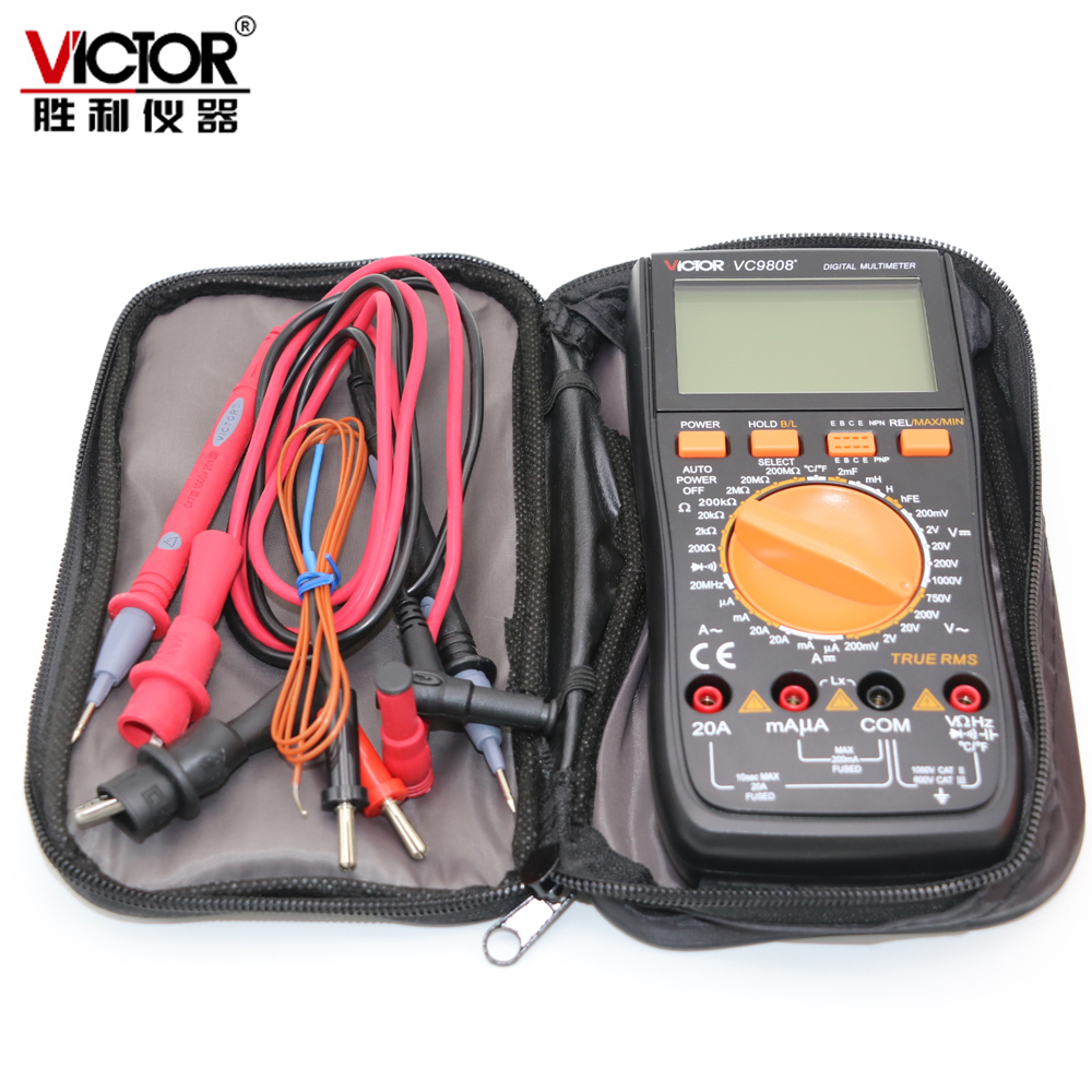 Виктор VC9808 + цифровой 3 1/2 мультиметр электрический тестер амперметр 20A вольтметр индуктивность частота тестер DCV ACV DCA/R/C/L/F