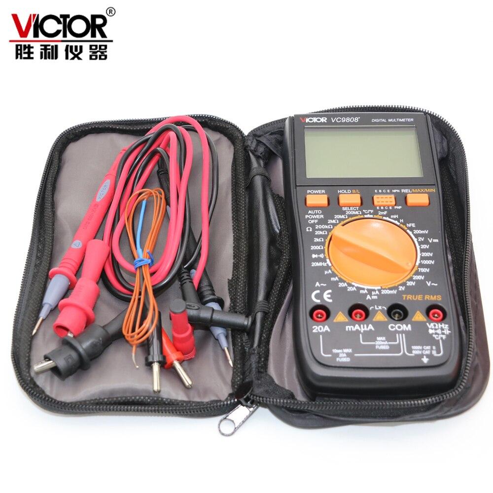 VICTOR VC9808 + Numérique 3 1/2 multimètre Compteur Électrique ampèremètre 20A voltmètre Inductance Fréquence testeur DCV ACV DCA/R /C/L/F