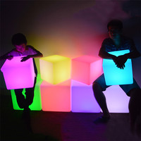 Thrisdar 30CM 40CM Led illuminated Furniture Bar led Cube Seat Chair Night light Outdoor Bar Stools Plastic Table Lamps