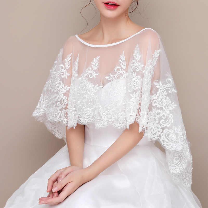 Накидка Свадебная летняя белая свадебная кружевная шаль сетки аппликации Для женщин Болеро для Свадебный жакет, болеро Свадебные аксессуары палантин