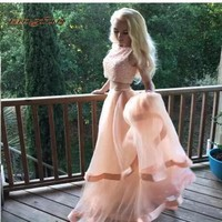 Pink Evening Dresses Party for Graduation Beading Tulle Long Two 2 Piece Prom Dress Gowns Formal Evening vestido de formatura