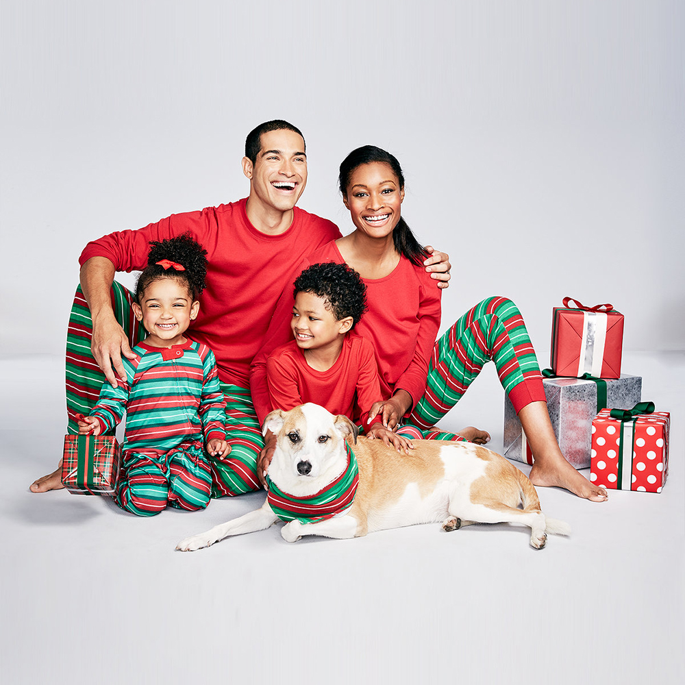 Christmas Print Sleepwear Long Sleeve Red Family Matching Outfits Homewear Pajamas Stripe Men Women Christmas Costume