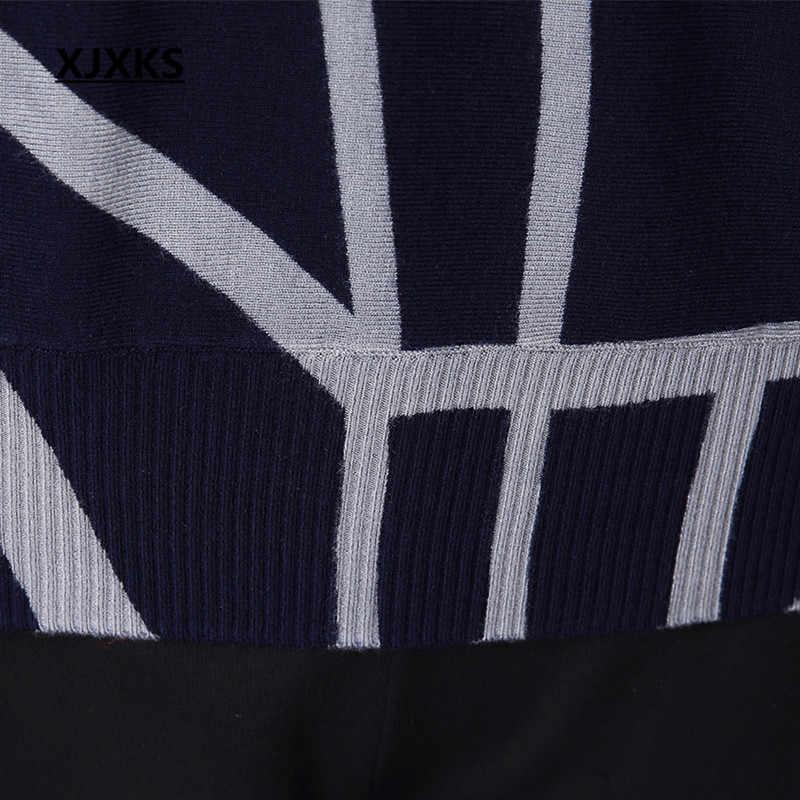 XJXKS с длинным рукавом Кашемир для женщин свитеры для и пуловеры 2018 весна осень новый принт дикий свитер Топы