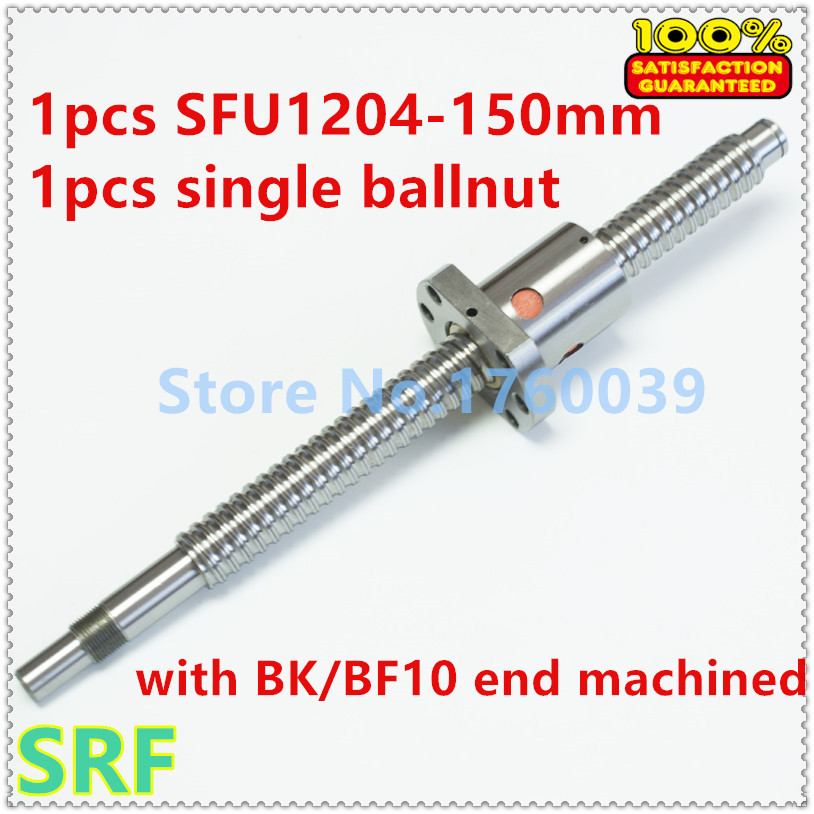 ФОТО Free shipping 1pcs RM1204 Rolled Ballscrew SFU1204= L150MM+1pcs SFU1204 Ball screw Ballnut with BK/BF10 end machined