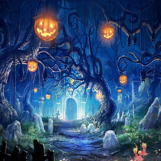 US $13 86 30% OFF|Horror Halloween night vinyl cloth forest cemetery  photography backdrops for children party photo studio portrait  backgrounds-in