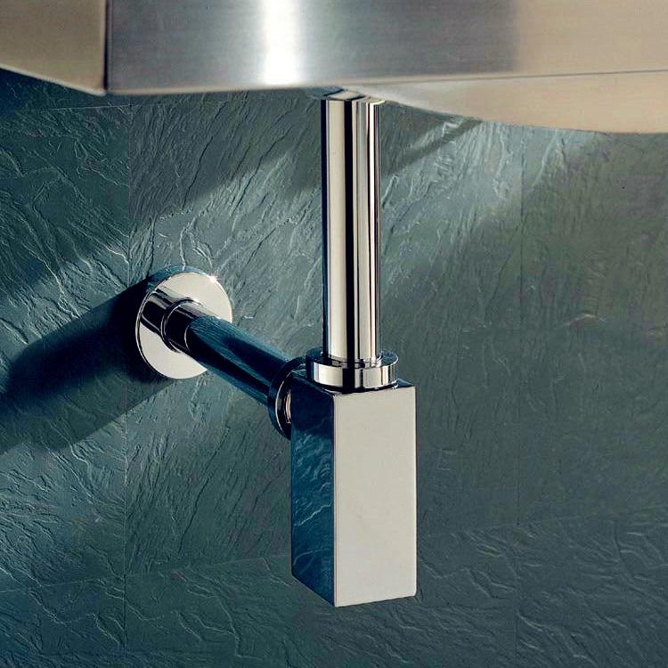 Bathroom Basin Sink Tap Square  Bottle Waste Trap Drain P-TRAP Pipe, Chrome 11-088-4