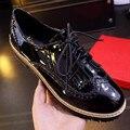 Баллок плоские туфли круглого toe лакированной кожи кисточки обувь Плюс Размер 41-43 Черный, красное вино Женская Обувь Мокасины