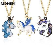 Милые Эмаль мультфильм ожерелье с единорогами для женщин животных лошадь кулон цепочки и ожерелья для обувь девочек вечерние ювел