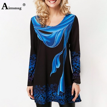 Plus size 4xl 5xl 2019 Women New summer Boho Print Blue Tops Long Sleeve Elasticity Female T-Shirt Casual Loose Ladies Tee Shirt