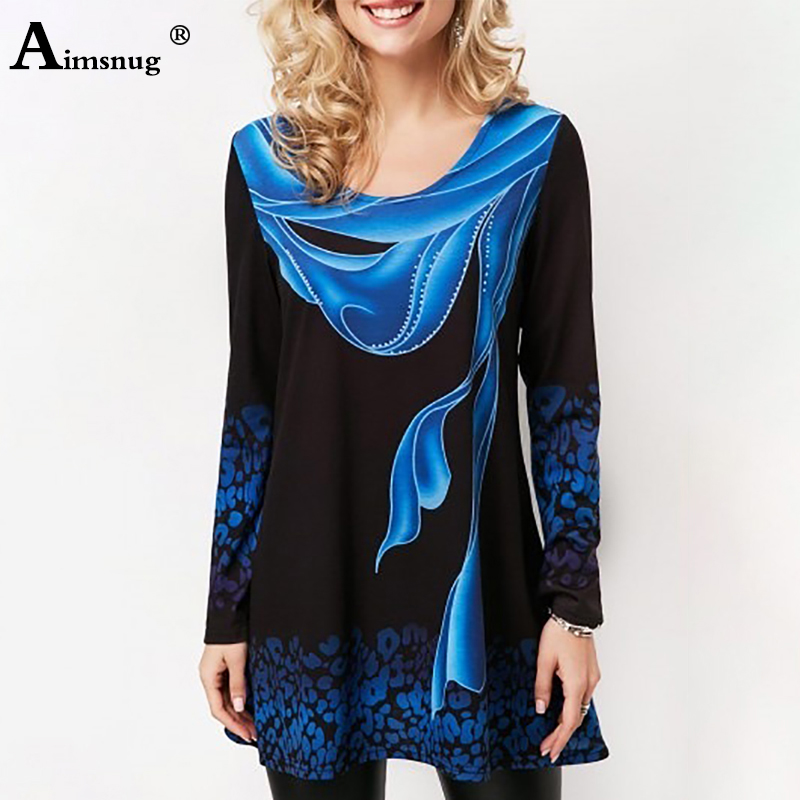 Plus Size 4xl 5xl 2019 Women New Summer Boho Print Blue Tops Long Sleeve Elasticity Female T-Shirt Casual Loose Ladies Tee Shirt