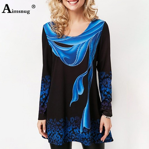 Plus size 4xl 5xl 2019 Women New summer Boho Print Blue Tops Long Sleeve Elasticity Female T-Shirt Casual Loose Ladies Tee Shirt(China)
