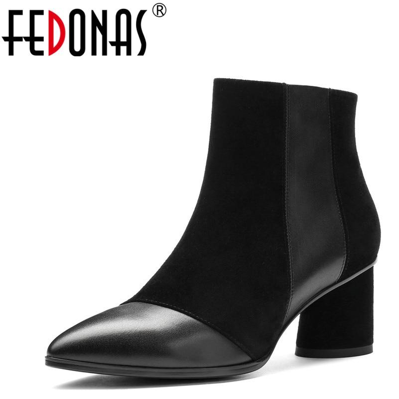 все цены на FEDONAS 1New Arrival Women Ankle Boots Autumn Winter Warm High Heels Shoes Brand Design Genuine Leather Top Quality Shoes Woman онлайн