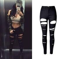 2017 High Quality Robek Skinny Ripped Jeans Women High Waist Slim Black Jeans Mujer Vintage Sexy Hip Hop Push Up Denim Feminina