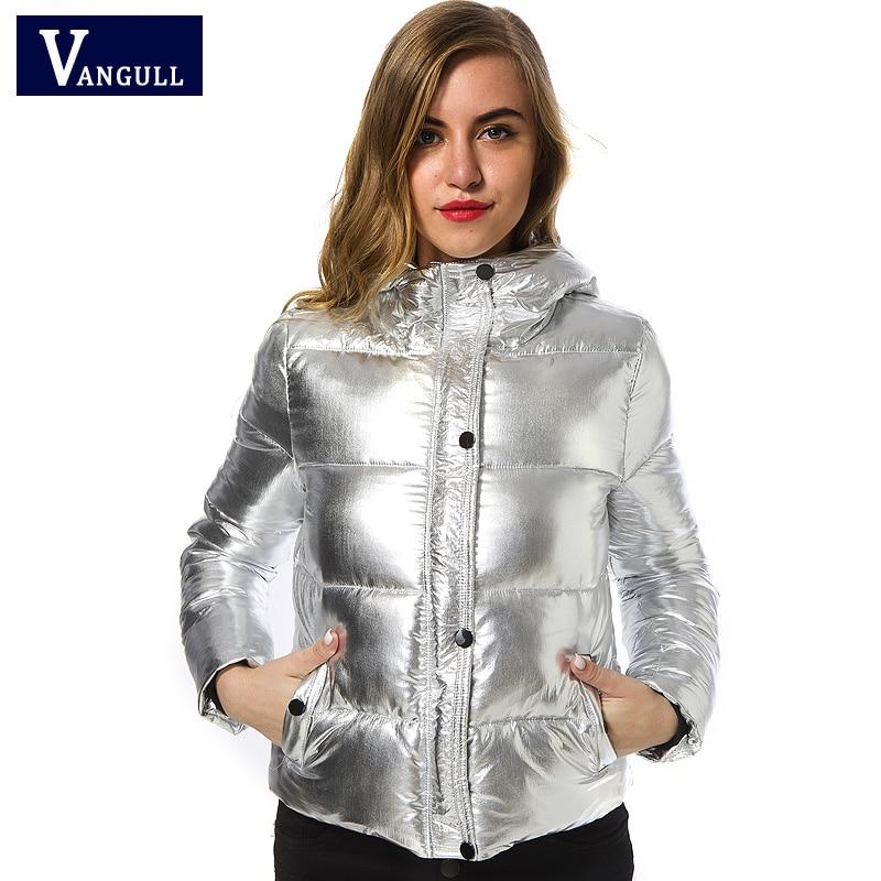Women Winter Jackets Short Warm Coat Silver Metal Color