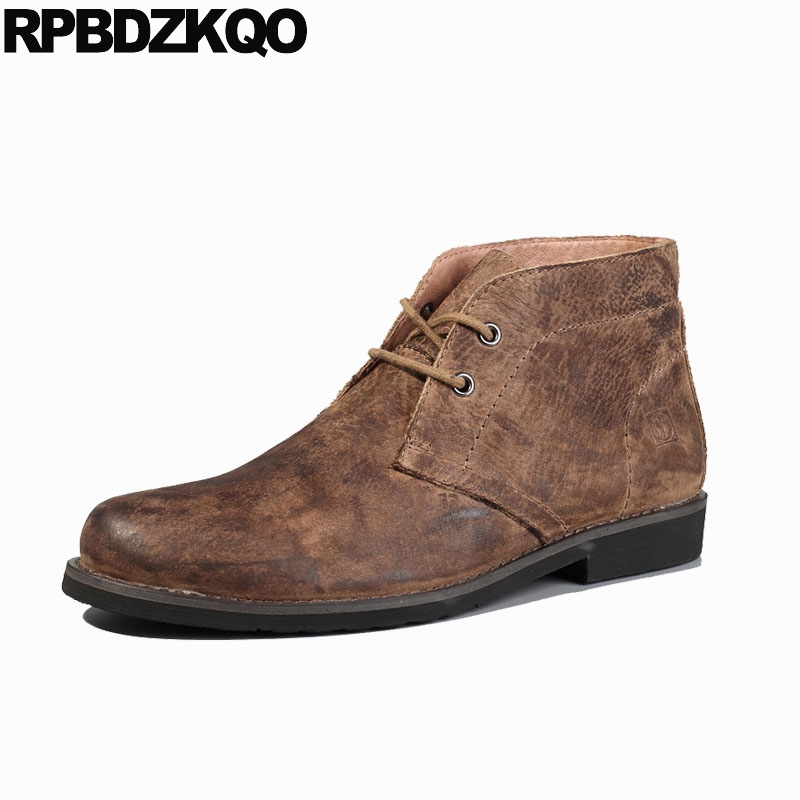 Luxury Shoes Lace Up Brown 2018 Men Full Grain Leather Boots Chukka Genuine Fall High Quality Round Toe Designer Chunky Booties