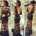 Черное кружево чистой дизайн вечерние платья без спинки сексуальные длинные рукава знаменитостей 2014 новых горячие продаж популярный стиль платья NU13